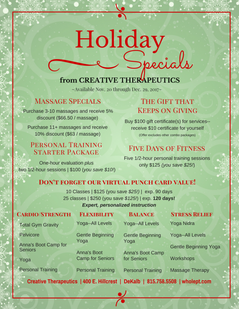 Holiday specials are here creative therapeutics whats new xflitez Gallery
